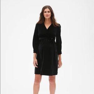 NWT Maternity Velvet Wrap Belted Dress - Black